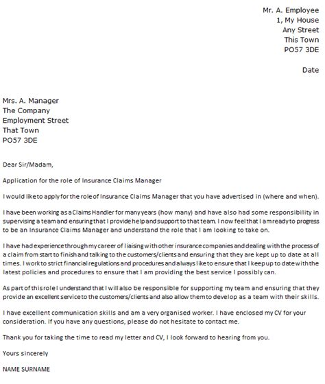 business letter exle claim insurance claims manager cover letter exle icover org uk