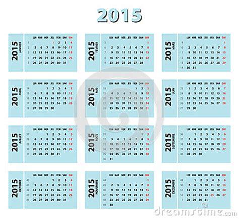 Calendario A Settimane 2015 Calend 225 2015 Franc 234 S Azul Ilustra 231 227 O Do Vetor Imagem