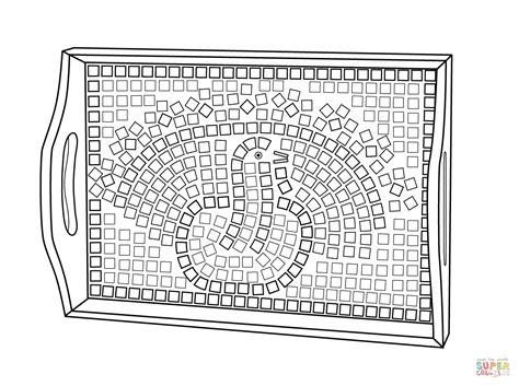 Thanksgiving Mosaic Coloring Page | thanksgiving mosaic platter coloring page free printable