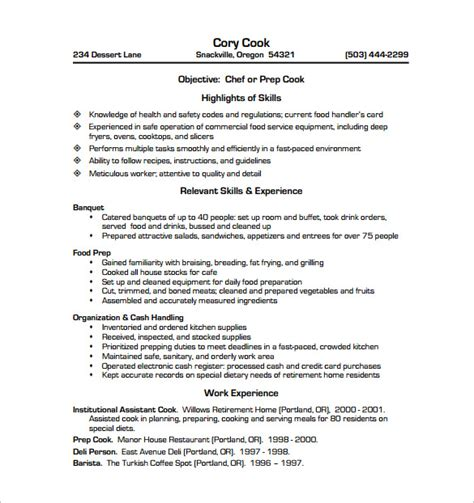Resume Templates Cook Assistant by Chef Resume Template 13 Free Word Excel Pdf Psd