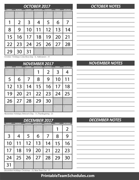 printable calendar for october november and december 2017 october november december calendar 2017