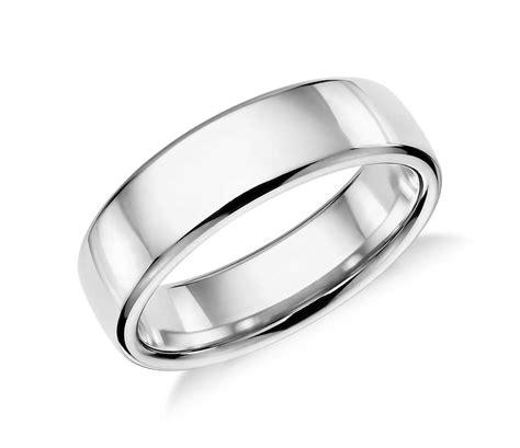 modern comfort fit wedding ring in platinum 6 5mm blue