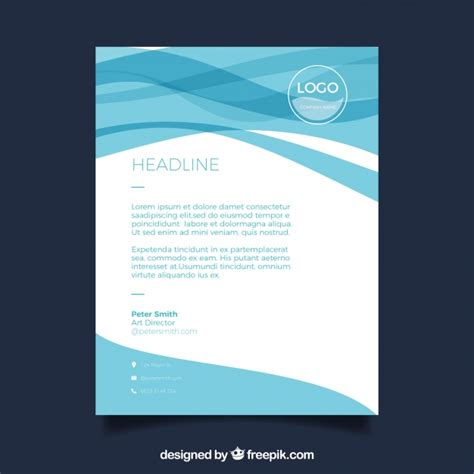 plantilla business letterhead with blue waves business letterhead template with blue waves vector free