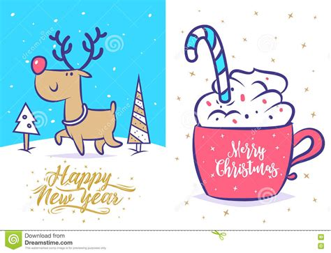 funny happy new year flirt new year set greeting card background poster vector illustration stock