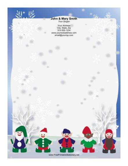 printable elf borders elf collection blue border stationery