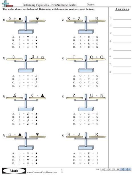 Pan Balance Worksheets by Algebra School And Stuff Algebra