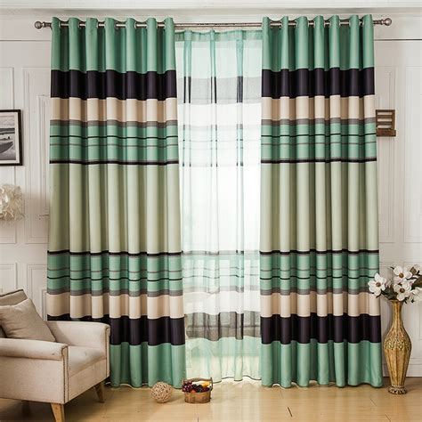 Cheap Bedroom Curtains For Sale | discount green striped curtain on sale for bedroom