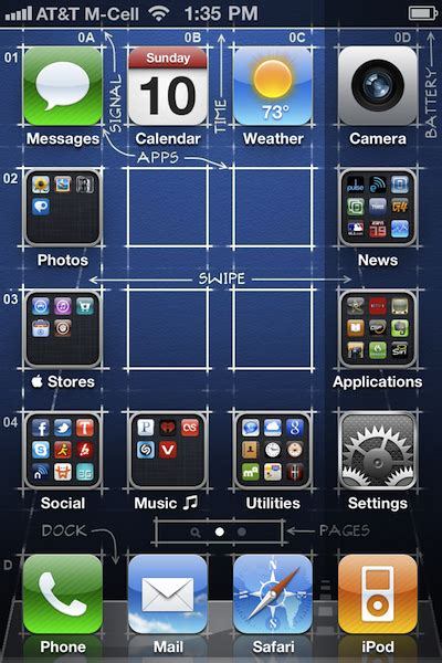 gridlock  iphone  custom icon positioning