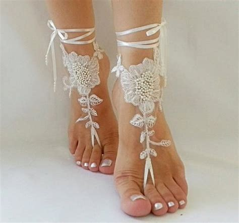 Lace Sandals Wedding by Wedding Barefoot Sandals Free Ship Embroidered