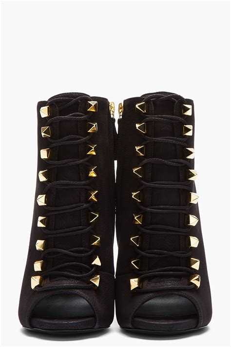 giuseppe boots giuseppe zanotti matte black leather goldstudded