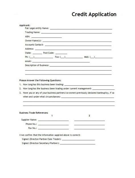 Rental Application Template Shatterlion Info Rental Credit Application Form Template