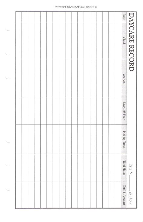daycare record planner pages big day planner pages