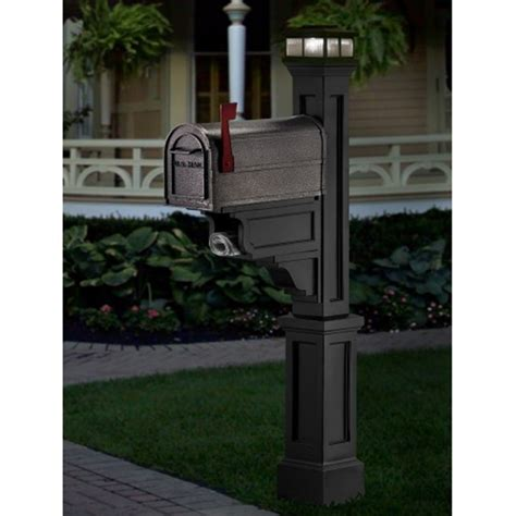 mailbox post with light mayne black led solar light cap for mailbox posts lzm 625 b