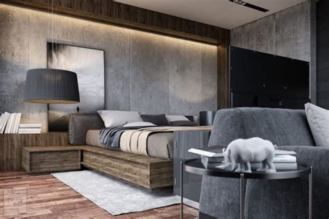 concrete wall  charming bedroom  piece