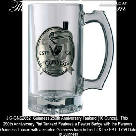 guinness toucan and harp pewter label tankard