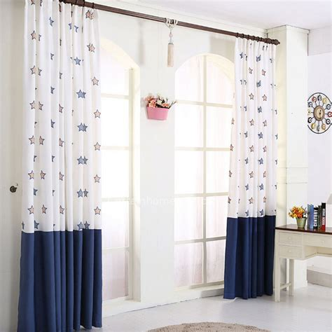 Navy And White Curtains Pair Of Decorative Designer