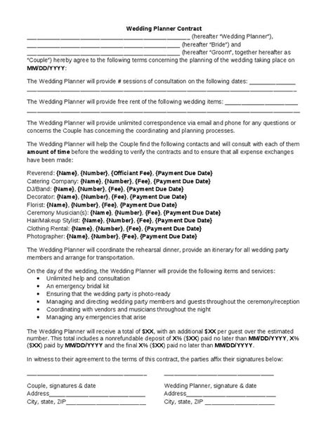 wedding planning contract templates wedding planner contract wedding planner contract