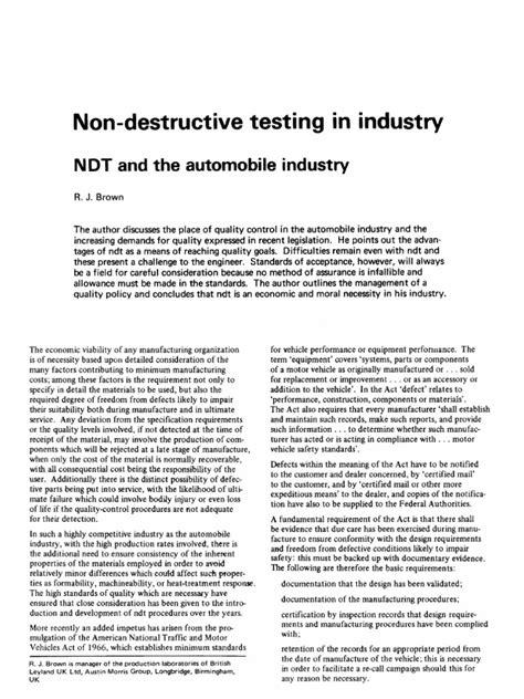 Non Destructive Testing in Automobile Application