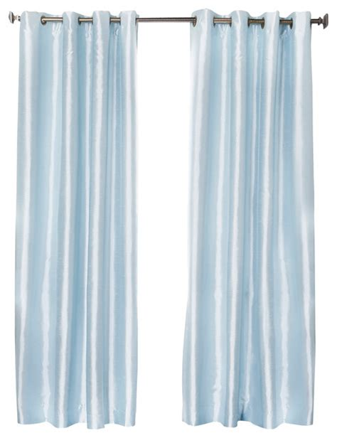 Sky Blue Curtains Dupioni Faux Silk Grommet Top Blackout Curtain 1 Pair Sky Blue 95 Quot Contemporary Curtains