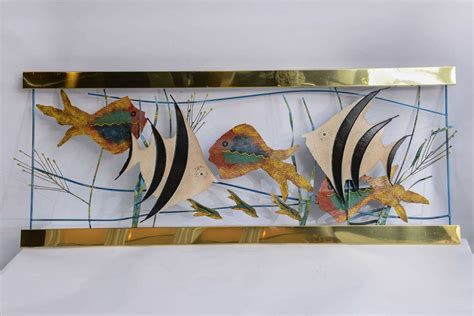sculpture wall decor tropical fish in aquarium metal wall sculpture signed c