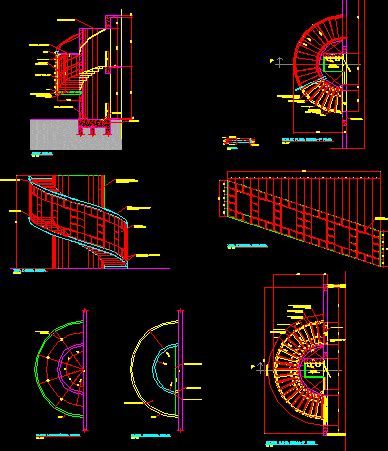 Stair Section Dwg by Semi Circular Stair Dwg Section For Autocad Designscad