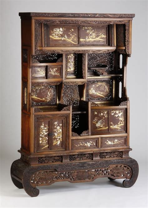 Japanese Curio Cabinet by 348 19th C Japanese Ivory Inlaid Curio Cabinet Lot 348