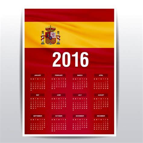 Calendario 2016 España Calendario De 2016 De Espa 241 A Descargar Vectores Gratis