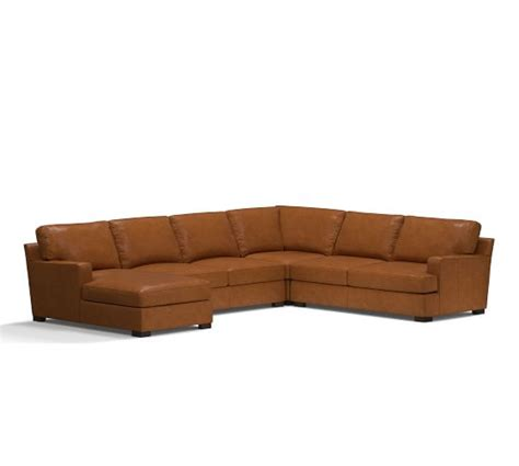 pottery barn townsend sofa townsend square arm leather 4 piece chaise sectional