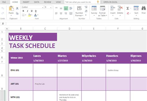 Weekly Task List Maker Template For Microsoft Excel Monthly Task Calendar Excel Template
