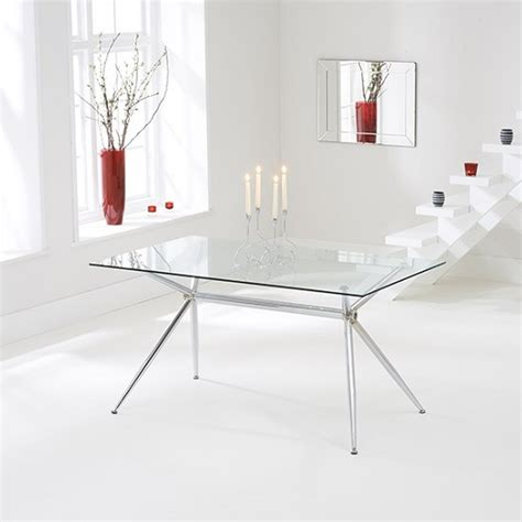 glass chrome dining table valerno glass dining table rectangular in clear with chrome