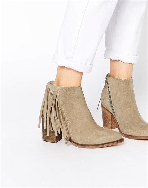 fringe ankle boots asos asos suede western fringe ankle boots at asos