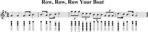 row row your boat on recorder row row row your boat tin whistle music