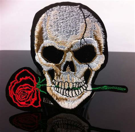 Handmade Embroidered Patches - free shipping skull american logo patch handmade