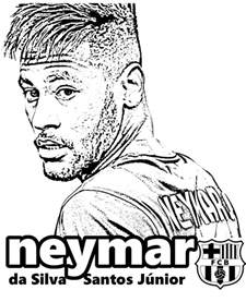 neymar fc barcelona player coloring pages