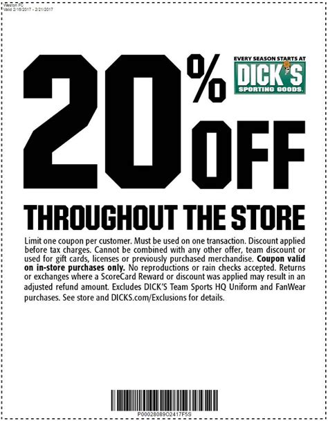 printable dicks coupons get 20 off at dick s sporting goods during the weston cup