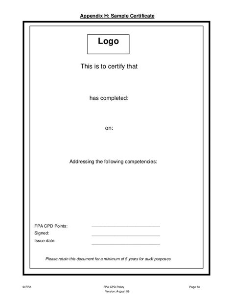 cpd certificate template financial planning association of australia ltd