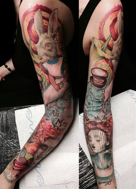 alice in wonderland sleeve tattoo 100 best in tattoos tattooblend