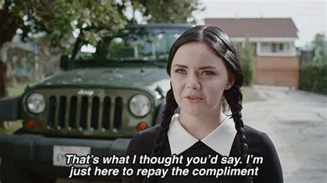 how wednesday addams would react to catcalling gifs women feminist gifset goth feminism wednesday addams