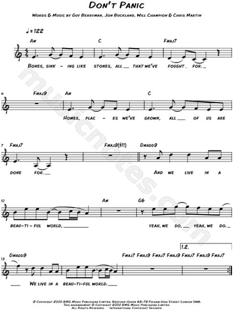 coldplay don t panic chords coldplay quot don t panic quot sheet music leadsheet in c major