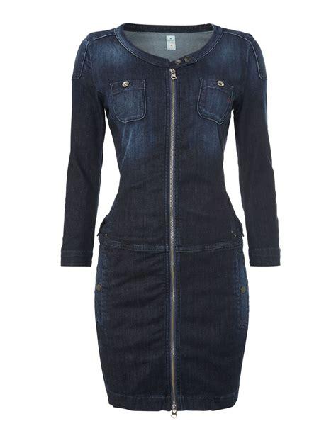 Dress Stretch Wedges Dress replay stretch denim dress in blue lyst