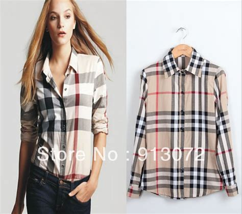 st171 new arrival womens classic basic plaid blouse