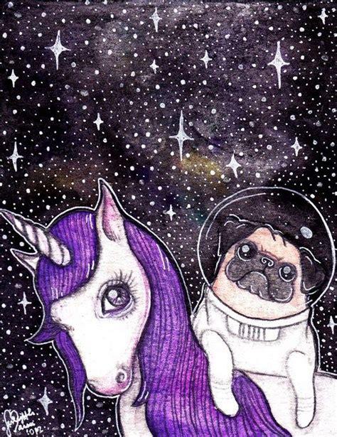 purple pug pug unicorn awesomeness astronauts a unicorn and front doors