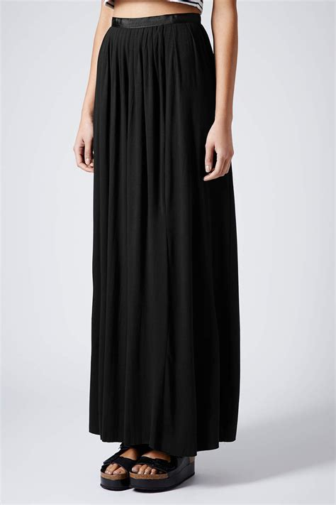 pattern for jersey maxi skirt lyst topshop black jersey pleat maxi skirt in black