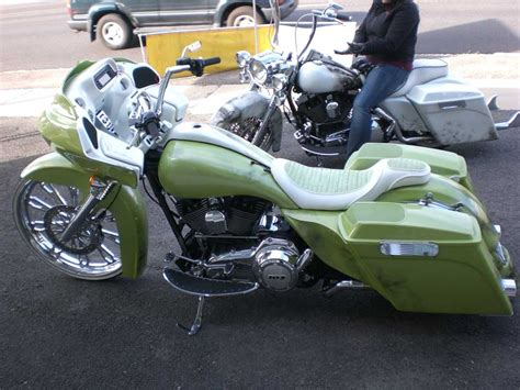green and white custom motorcycle seat kirkham upholstery