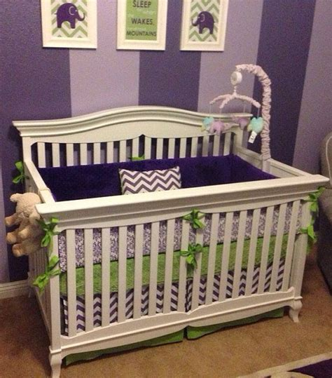 Modern Lime Green And Purple Crib Bedding Made To Order Lime Green Crib Bedding