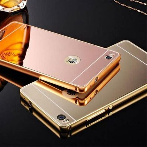 Mirror Huawei P8lite fashion luxury gold silver black frame mirror