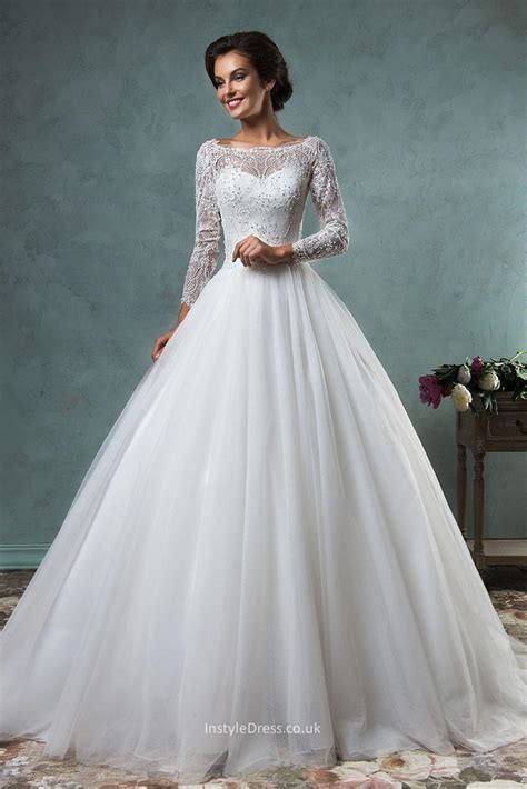 lace winter wedding dresses uk gown boat neckline lace tulle backless