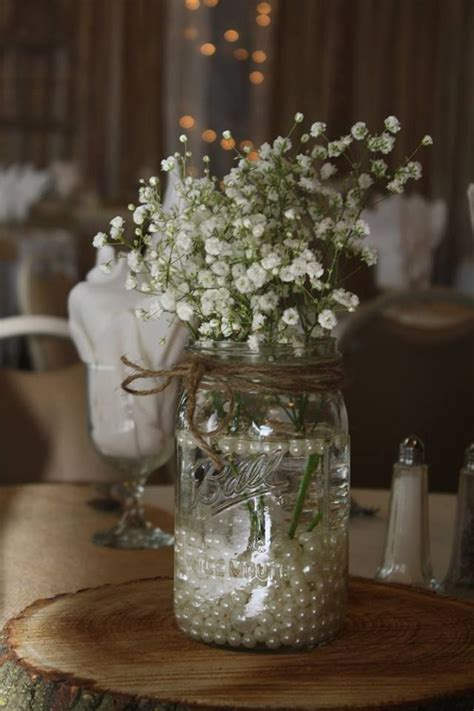 bridal shower table decorations with jars pink carnation and baby s breath rustic centerpieces search wedding flowers