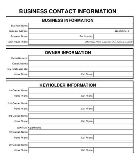 business information form template business form template 9 free pdf documents