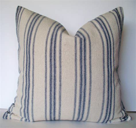 Sack Pillow by Grain Sack Pillow Cover Blue Farmhouse Pillow Blue Cottage